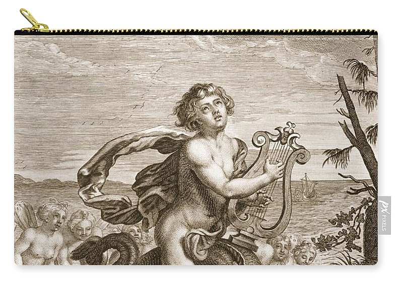 Hero Carry-all Pouch featuring the drawing Arion Preserved By A Dolphin, 1731 by Bernard Picart