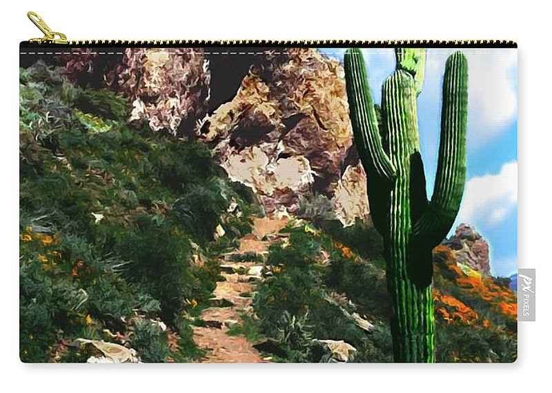 Acrylic Carry-all Pouch featuring the photograph Arizona Saguaro Tonto National Monument by Bob and Nadine Johnston
