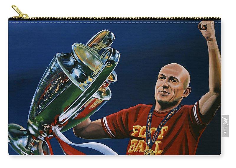 Arjen Robben Carry-all Pouch featuring the painting Arjen Robben by Paul Meijering