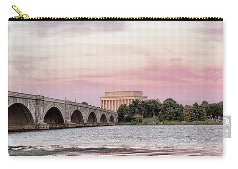 Photography Carry-all Pouch featuring the photograph Arlington Memorial Bridge With Lincoln by Panoramic Images