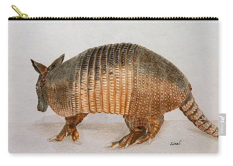 Armadillo Carry-all Pouch featuring the drawing Armadillo by Zina Stromberg