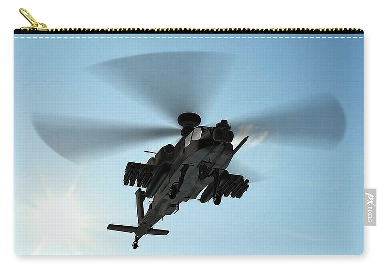 Wind Carry-all Pouch featuring the photograph Armed Longbow Apache Helicopter In by Bestgreenscreen