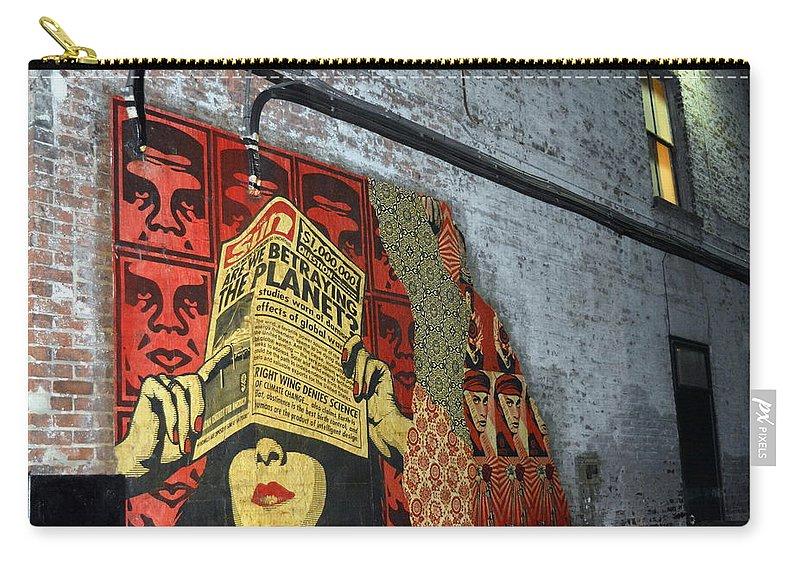 Graffiti Carry-all Pouch featuring the photograph Arnolds And Graffiti Andre The Giant Has A Posse by Kathy Barney