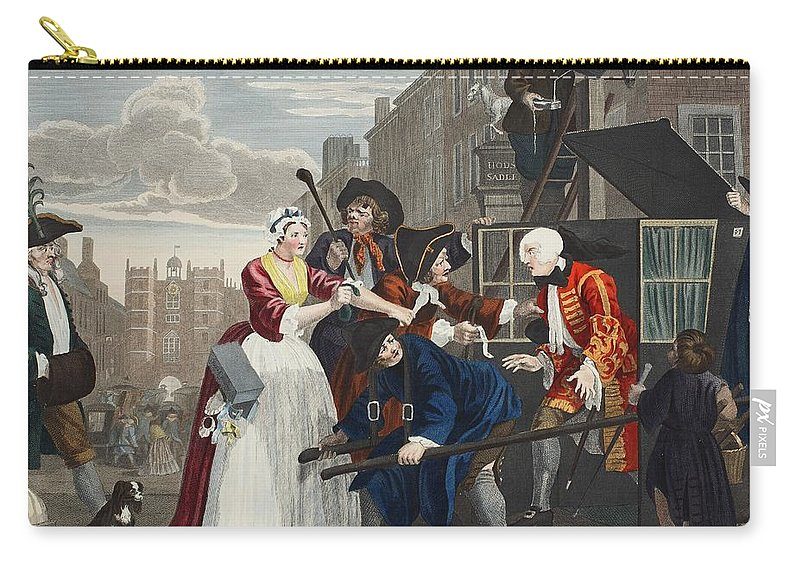 Street Scene Carry-all Pouch featuring the drawing Arrested For Debt, Plate V From A Rakes by William Hogarth