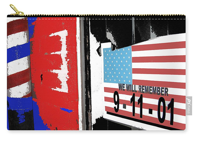 Art Homage Jasper Johns American Flag 9-11-01 Memorial Collage Barber Shop Eloy Az 2004 Color Added Carry-all Pouch featuring the photograph Art Homage Jasper Johns American Flag 9-11-01 Memorial Collage Barber Shop Eloy Az 2004-2012 by David Lee Guss