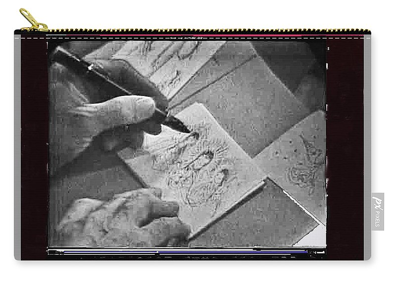 Art Homage Ted Degrazia Pen Ink Drawing On Camera Kvoa Tv Studio January 1966 Screen Capture Dick Mayers Interviewing Black And White Carry-all Pouch featuring the photograph Art Homage Ted Degrazia Pen Ink Drawing On Camera Kvoa Tv Studio January 1966 Screen Capture by David Lee Guss