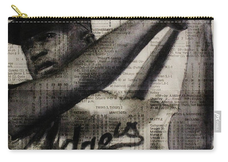 Jackie Robinson Carry-all Pouch featuring the drawing Art In Thenews 16-jackie by Michael Cross