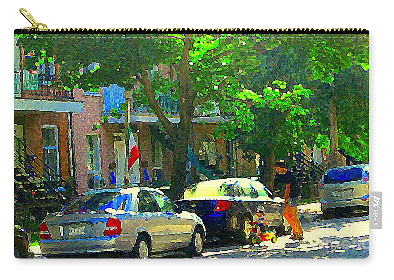 Montreal Carry-all Pouch featuring the painting Art Of Montreal Day With Daddy And Yellow Wagon Zooming Our Streets Of Verdun Scene Carole Spandau by Carole Spandau