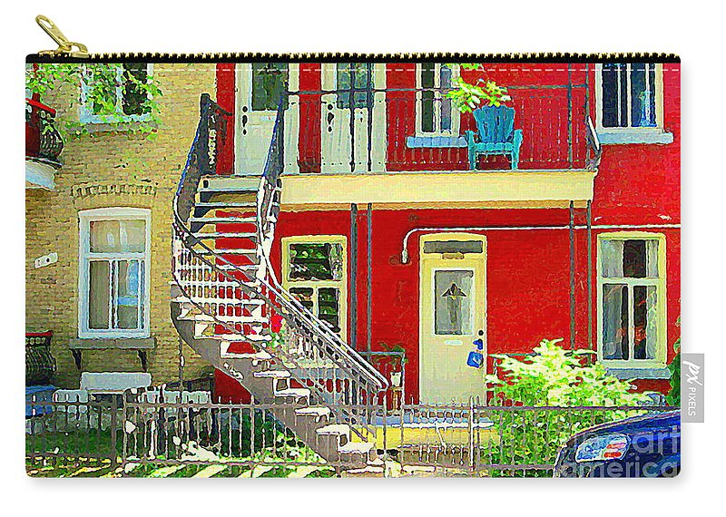 Montreal Carry-all Pouch featuring the painting Art Of Montreal Upstairs Porch With Summer Chair Red Triplex In Verdun City Scene C Spandau by Carole Spandau
