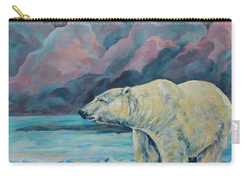 Wildlife Carry-all Pouch featuring the painting Artic Wanderer by Derrick Higgins