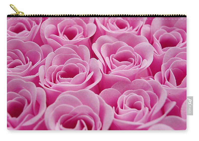 Artificial Background Images Background Image Background Blurred Blurry Decorated Decorations Decoration Decorative Fake Flowers Flower Fuchsia Full-frame Full Frame Magenta Nobody Out Of Focus Pink Rosa Roses Rose Rosy Studio Shots Studio Shot Carry-all Pouch featuring the photograph Artificial Pink Roses by Bernard Jaubert