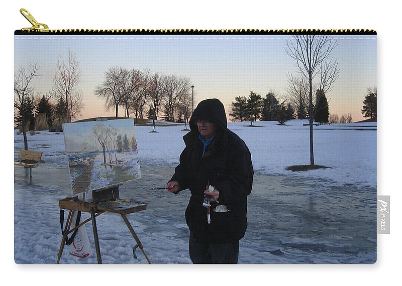 Ylli Haruni Carry-all Pouch featuring the photograph Artist At Work Lake Shore Mississauga On by Ylli Haruni