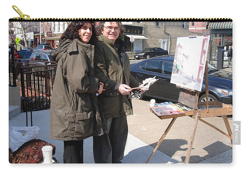 Ylli Haruni Carry-all Pouch featuring the photograph Artist At Work Main St Nyack Ny by Ylli Haruni
