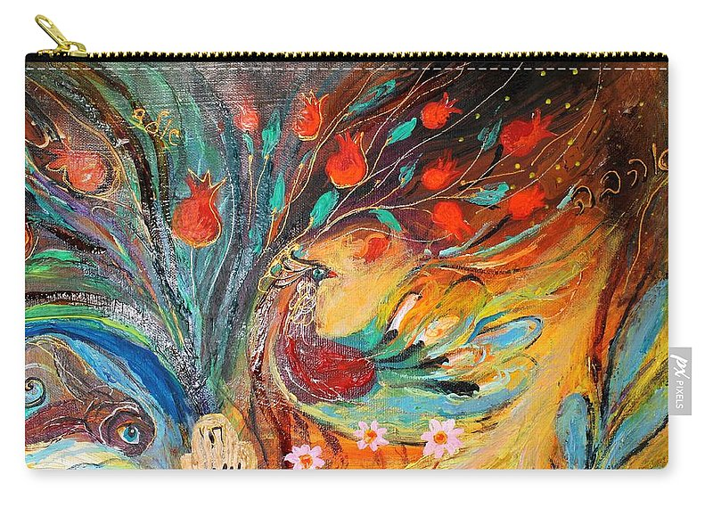 Jewish Art Prints Carry-all Pouch featuring the painting Artwork Fragment 05 by Elena Kotliarker