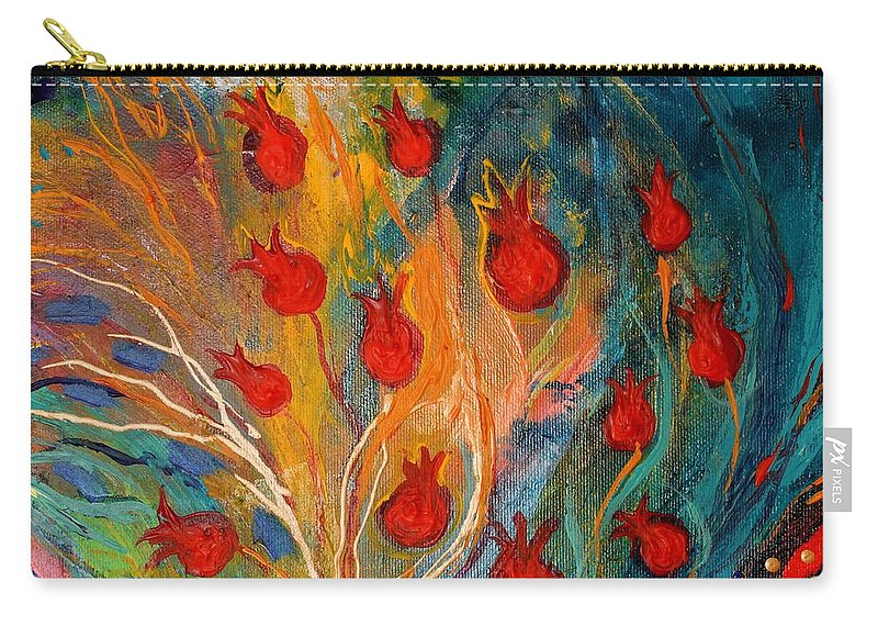 Jewish Art Prints Carry-all Pouch featuring the painting Artwork Fragment 11 by Elena Kotliarker