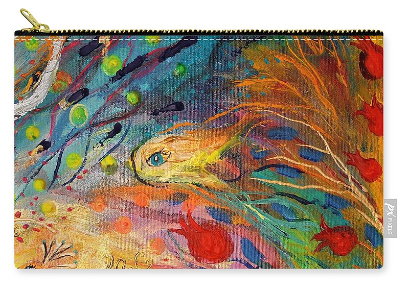 Jewish Art Prints Carry-all Pouch featuring the painting Artwork Fragment 12 by Elena Kotliarker