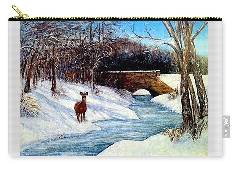 Wildlife Carry-all Pouch featuring the painting As A Deer by Gail Kirtz