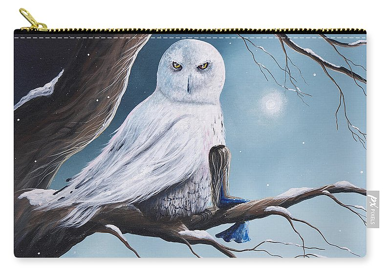 Owl Carry-all Pouch featuring the painting White Snow Owl Painting by Artisan Parlour