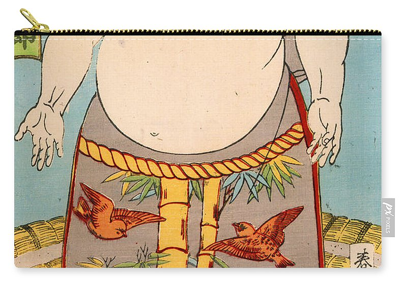 Sumo Carry-all Pouch featuring the painting Asashio Toro A Japanese Sumo Wrestler by Japanese School