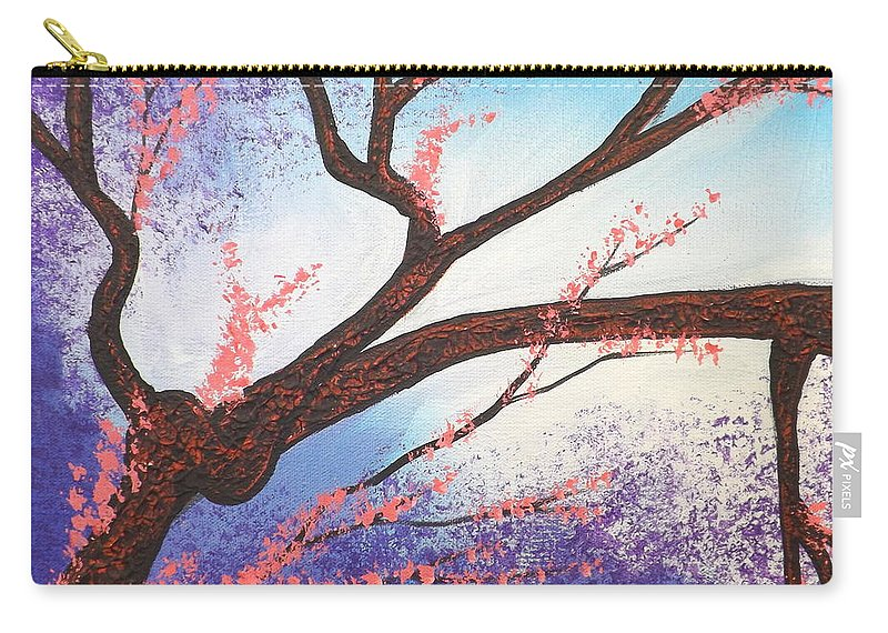 Asian Bloom Carry-all Pouch featuring the painting Asian Bloom Triptych 1 by Darren Robinson