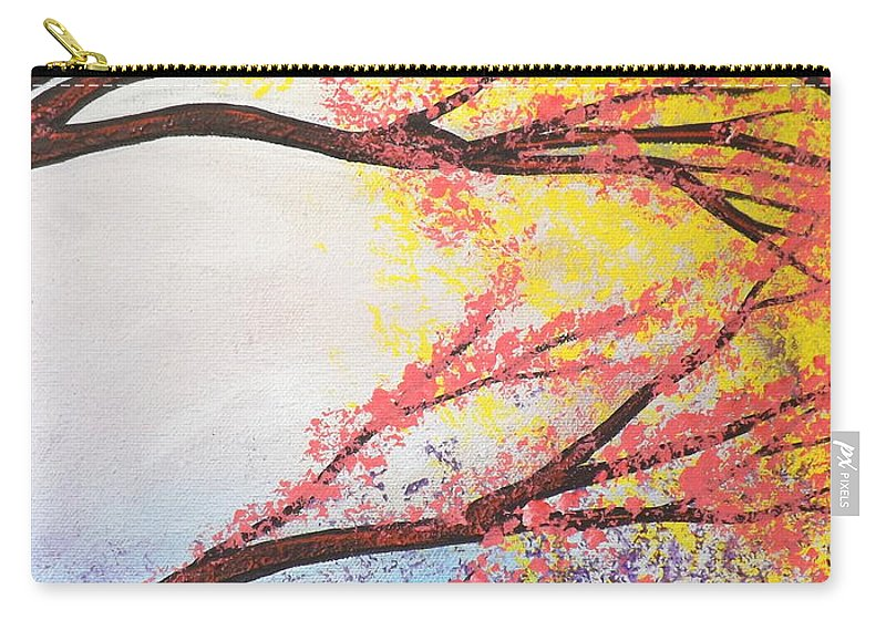Asian Bloom Triptych Carry-all Pouch featuring the painting Asian Bloom Triptych 3 by Darren Robinson