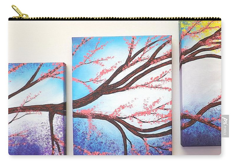 Asian Bloom Triptych Carry-all Pouch featuring the painting Asian Bloom Triptych by Darren Robinson