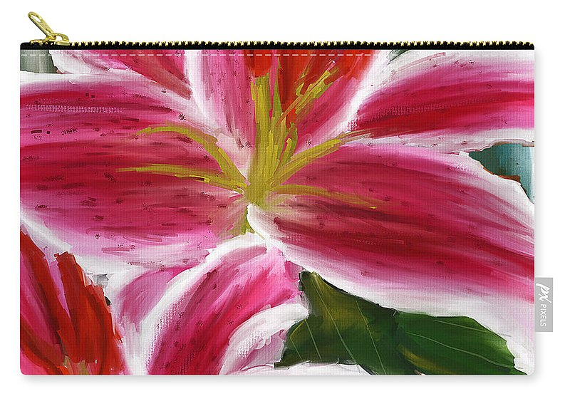 Asiatic Lily Carry-all Pouch featuring the painting Asiatic Lily- Asiatic Lily Paintings- Pink Paintings by Lourry Legarde