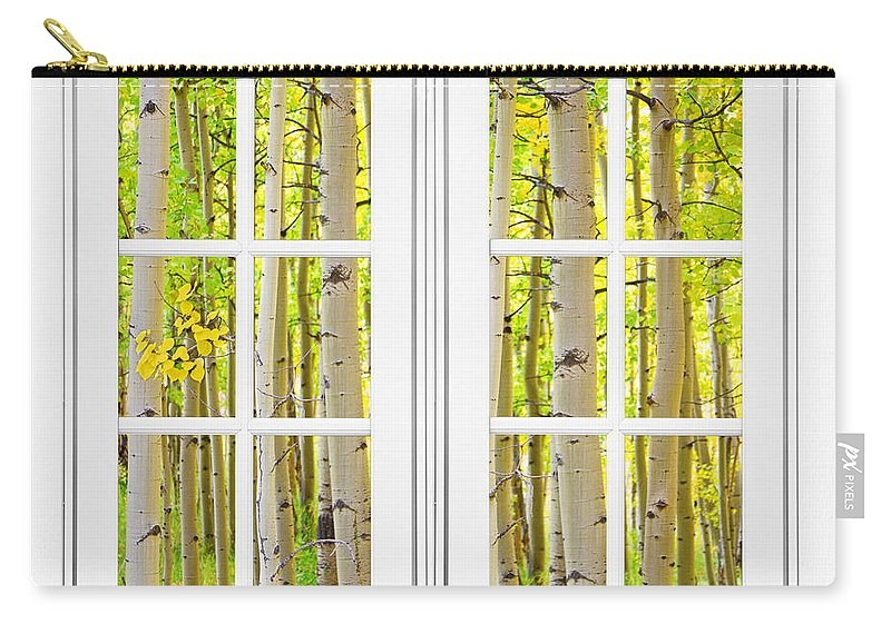 Windows; Window; 'picture Windows'; Awesome; Fine Art Picture Windows; Window With A View; Window Fine Art; Print Is The Frame; Cool; Beautiful; Artwork; For Sale; Cafe Art; Restaurant Art; Boardroom Art; Waiting Room Art; Commercial Space Art; Gift Ideas; Beautiful Window View; Corporate Art; Colorful; Autumn; Fall; Foliage; Scenic; View; Colorado; 'rocky Mounatins'; 'aspen Trees'; Yellow; Burning; Orange; Colorado Nature; Landscapes; 'james Bo Insogna'; '; Seasons Carry-all Pouch featuring the photograph Aspen Forest White Picture Window Frame View by James BO Insogna