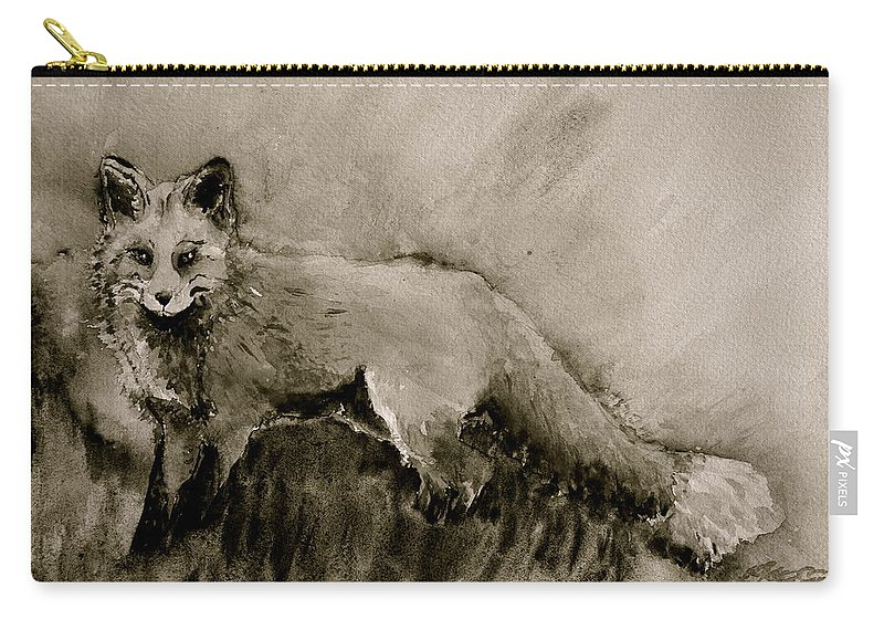 Fox Carry-all Pouch featuring the painting Assessing The Situation Black And White by Beverley Harper Tinsley