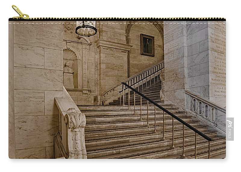 Astor Hall Carry-all Pouch featuring the photograph Astor Hall Nypl by Susan Candelario