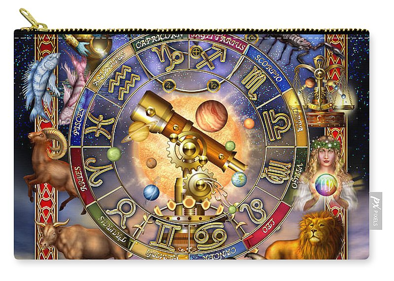Ciro Marchetti Carry-all Pouch featuring the digital art Astrology by MGL Meiklejohn Graphics Licensing