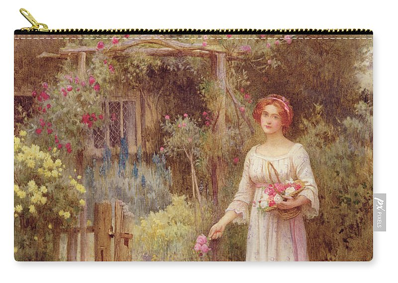 Cottage Carry-all Pouch featuring the drawing At The Garden Gate by William Affleck