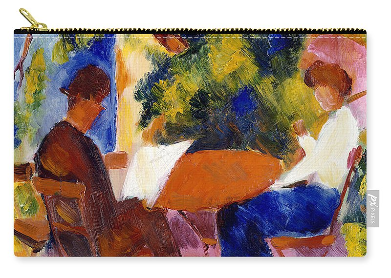 At The Garden Table Carry-all Pouch featuring the painting At The Garden Table by August Macke