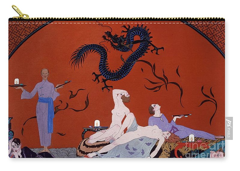 Pasotz Carry-all Pouch featuring the painting At The House Of Pasotz by Georges Barbier
