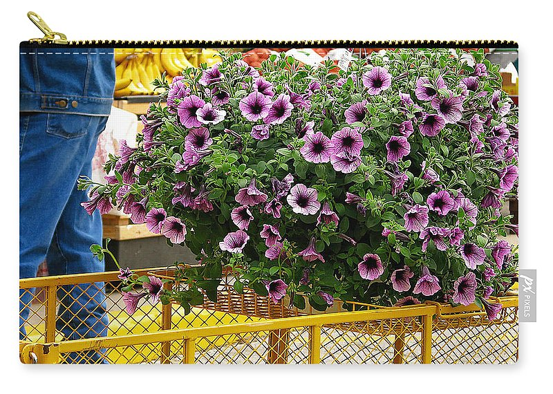 Flowers Carry-all Pouch featuring the photograph At The Market by Deb Buchanan
