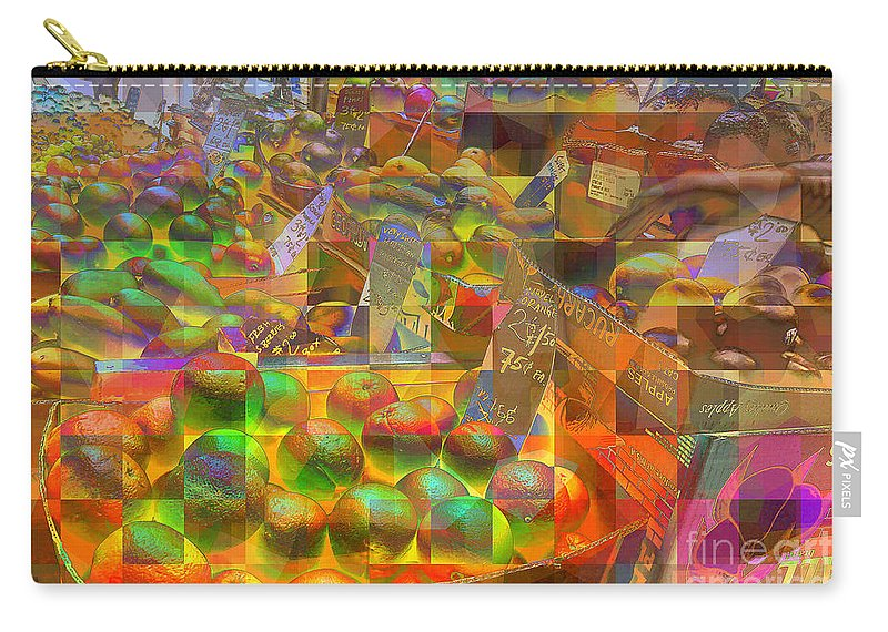 At The Market Carry-all Pouch featuring the photograph At The Market - Oranges by Miriam Danar