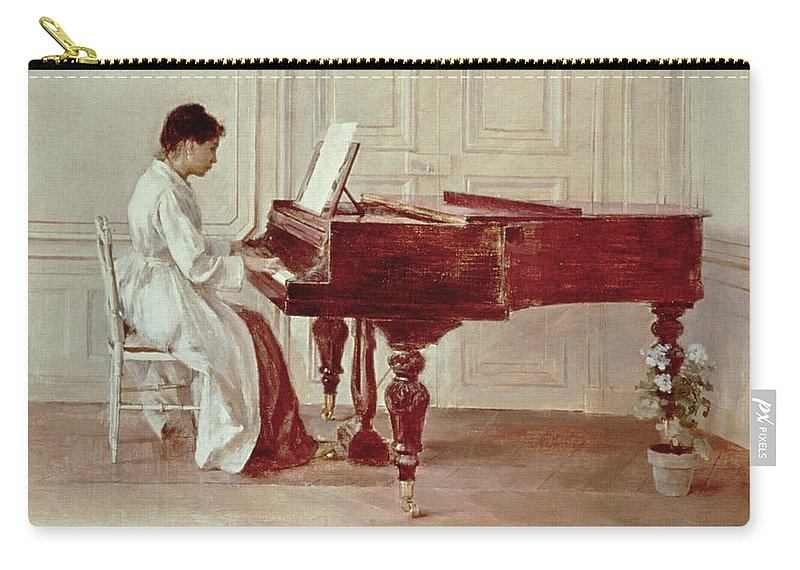 Grand Carry-all Pouch featuring the painting At The Piano by Theodore Robinson