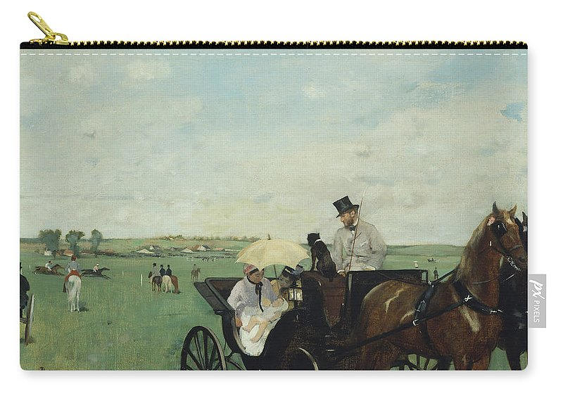 Edgar Degas Carry-all Pouch featuring the painting At The Races In The Countryside by Edgar Degas