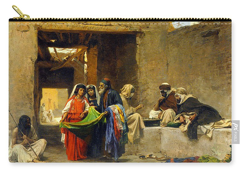 Orientalism Carry-all Pouch featuring the photograph At The Souk by Munir Alawi