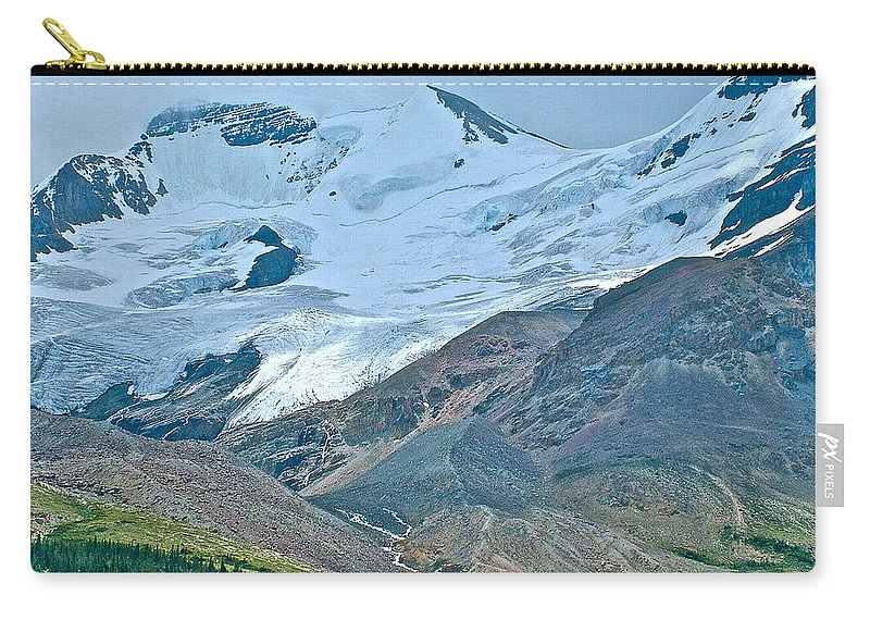 Athabasca Glacier Along Icefields Parkway In Alberta Carry-all Pouch featuring the photograph Athabasca Glacier Along Icefields Parkway In Alberta by Ruth Hager