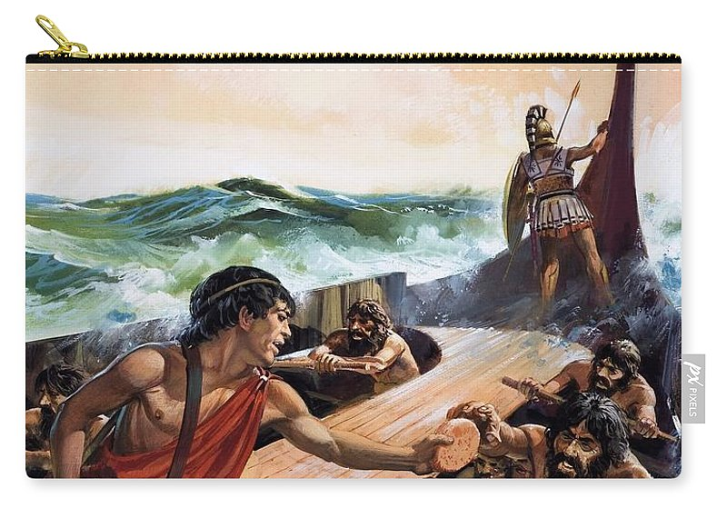Oarsmen Carry-all Pouch featuring the drawing Athenian Trireme by Andrew Howat