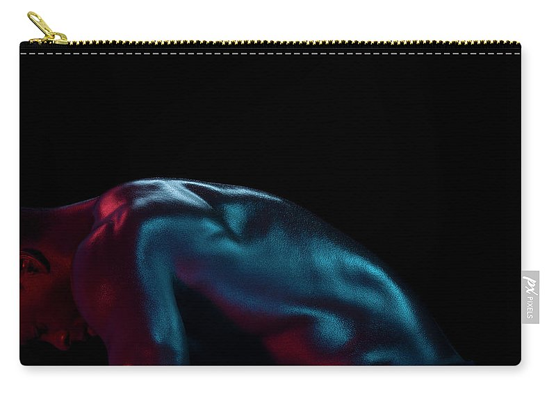 Cool Attitude Carry-all Pouch featuring the photograph Athletic Male Bending, Head Down, Side by Jonathan Knowles