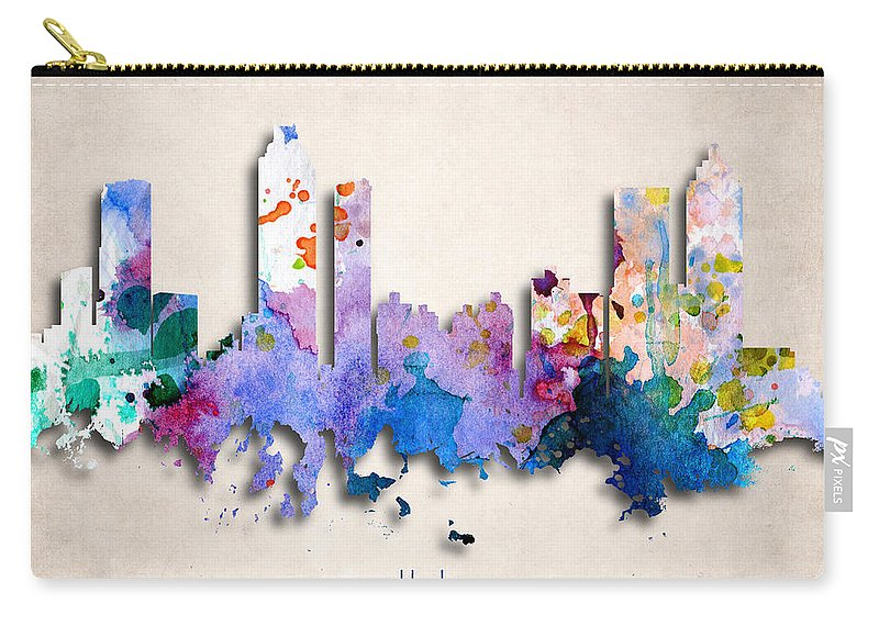 Atlanta Carry-all Pouch featuring the digital art Atlanta Painted City Skyline by World Art Prints And Designs