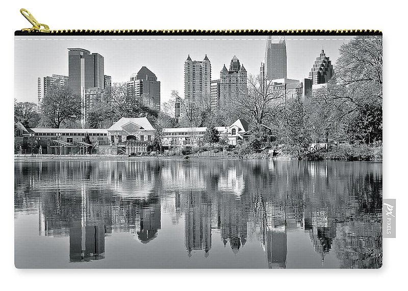 Atlanta Carry-all Pouch featuring the photograph Atlanta Reflecting In Black And White by Frozen in Time Fine Art Photography