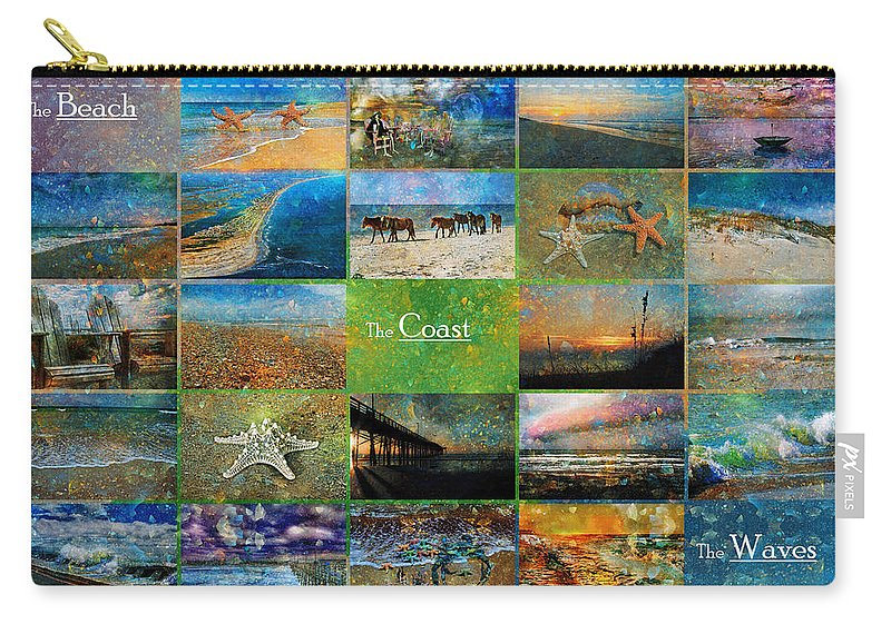 Topsail Carry-all Pouch featuring the mixed media Atmospheric Beaches  by Betsy Knapp