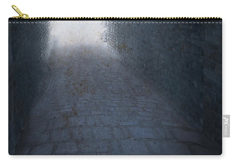 Nobody Carry-all Pouch featuring the photograph Atmospheric Creepy Arched Tunnel With Cobbled Floor by Lee Avison