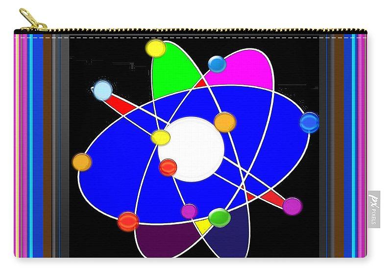 Atom Carry-all Pouch featuring the painting Atom Science Progress Buy Faa Print Products Or Down Load For Self Printing Navin Joshi Rights Manag by Navin Joshi