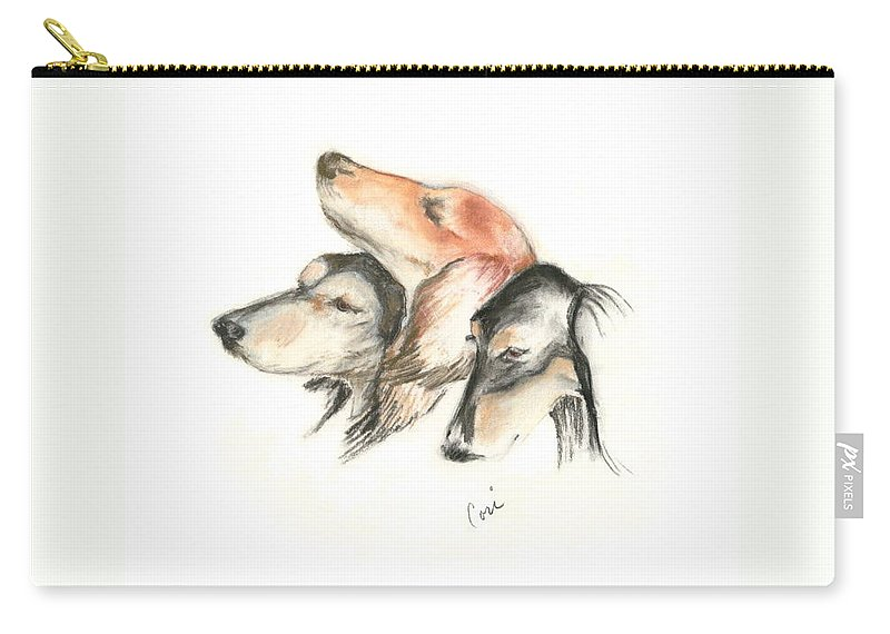 Dog Carry-all Pouch featuring the drawing Attitude by Cori Solomon