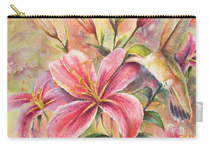 Birds Carry-all Pouch featuring the painting Attractive Fragrance by Arthur Fix