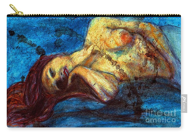 Watercolor. Nude Carry-all Pouch featuring the painting Auburn In Repsoe by Michael Cross